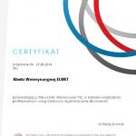 Certyfikat Kliniki Weterynaryjnej Elwet